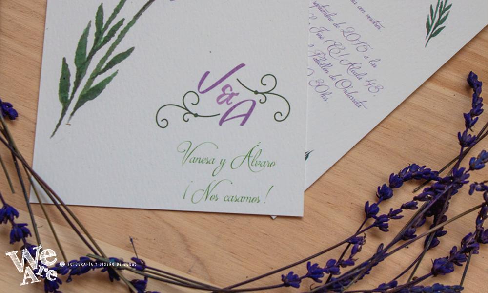Invitaciones de boda personalizadas.