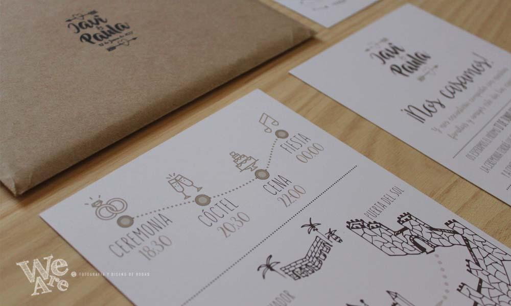Invitaciones de Boda. Diseño de Invitaciones de boda modernas. Invitaciones de Boda originales